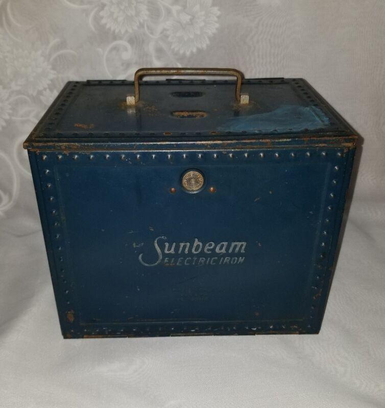 Vintage Sunbeam Electric Iron W/ Original Metal Storage Box  Heavy! Works!
