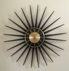 "Vtg MCM Elgin 24"" Starburst Wall Clock Battery Black Metal Gold Accent Working"
