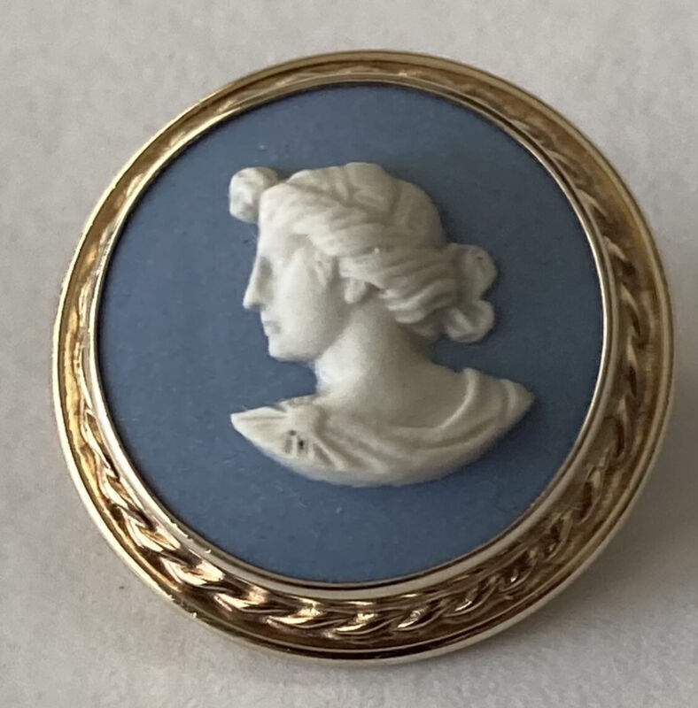 Vintage Sterling Silver Wedgwood Jasperware Cameo Pin
