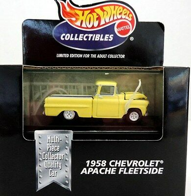 1958 CHEVROLET APACHE FLEETSIDE PICKUP, Hot Wheels, 1:64, Yellow, New in Box!