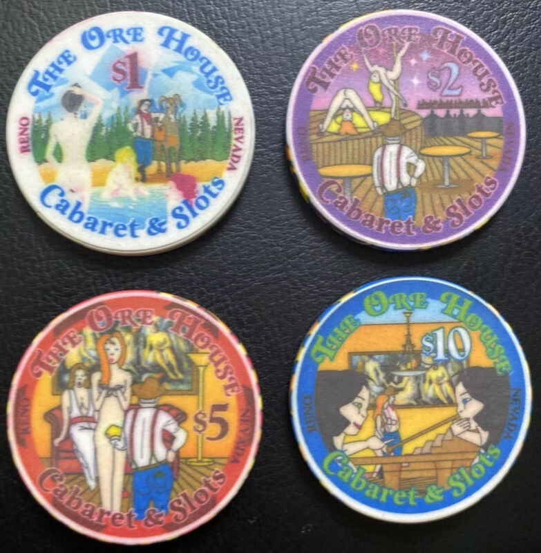 The Ore House Cabaret and Slots Reno NV Rare casino chips set Of 4 $1 $2 $5 $10