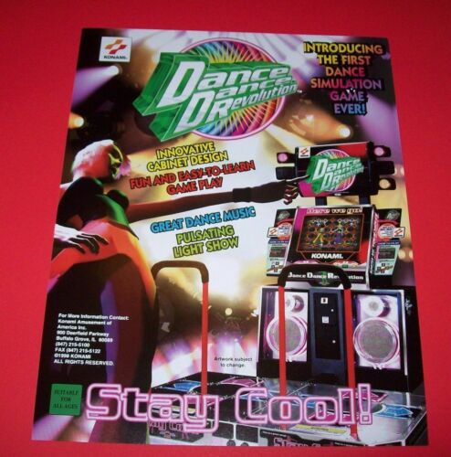 Dance Dance Revolution Arcade FLYER Konami 1998 Original NOS Video Game Artwork