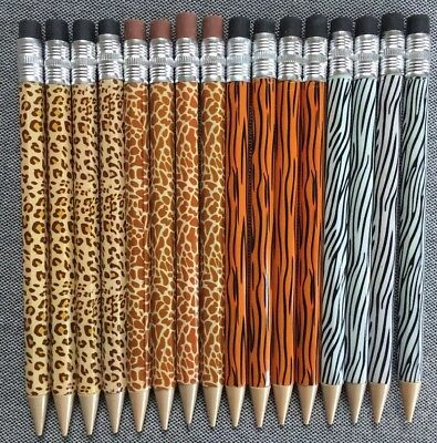 Animal Print Mechanical Pencils, Unused, Tiger-Zebra-Giraffe-Leopard Prints - Animal Print Pencils