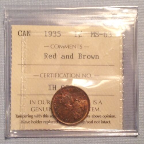 - 1935 Canada George V One Cent - Choice Uncirculated Unc -  ICCS Graded