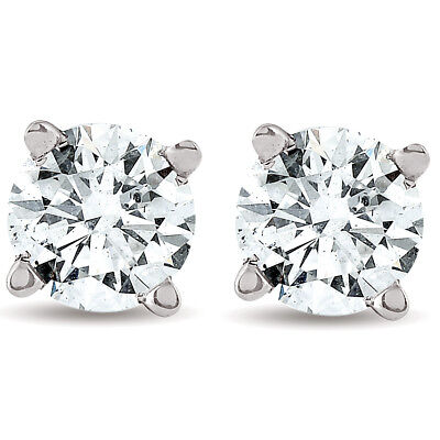 Gold Brilliant Cut Diamond - 1/2ct Round Real Diamond Studs White Gold Brilliant Cut