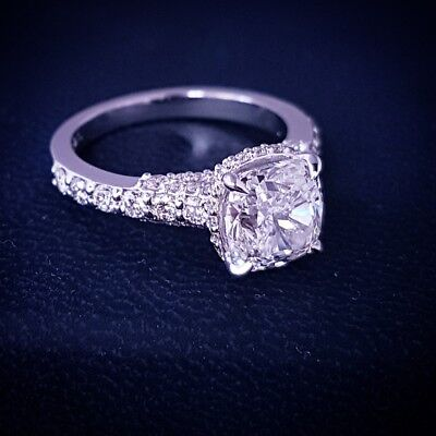 1.50 Ct Cushion Cut Diamond Engagement Ring French Micro Pave J,VVS2 GIA 14K WG