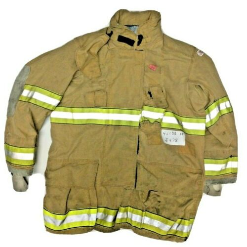 46x35 Globe Gxtreme Firefighter Brown Turnout Jacket Coat with Yellow Tape J878
