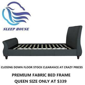 Closing Down Premium Fabric Bed Frame Floor Stock Clearance