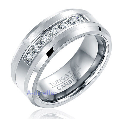 (8MM Mens Tungsten Ring Round Diamond Inlay Center Brushed Wedding Band Size 7-13)