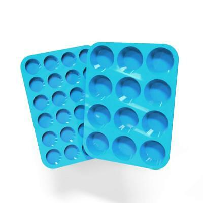 Silicone Muffin  Cupcake Pans Set of 2 Non Stick Cake Molds Large (12) Mini (24) Mini Muffin Cupcake