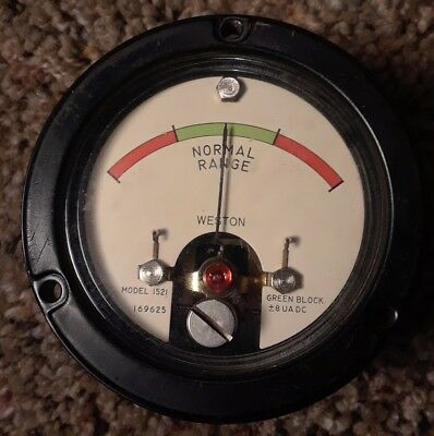 Vintage Weston Model 1521 Meter 2000 Ohms Red Green Red Gauge N6625 570 9272