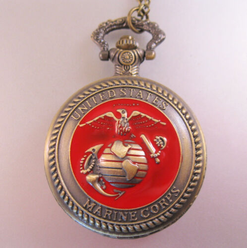 USA RED Marines Marine Corp Pocket Watch & Belt Chain Necklace Gifts for Soldier