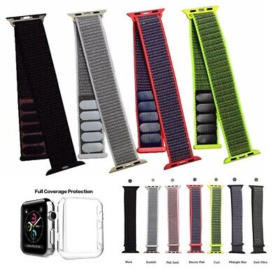 Nylon Loop Sports Apple Watch Replacement Band Series 4 3 2 1 Full Cover Case