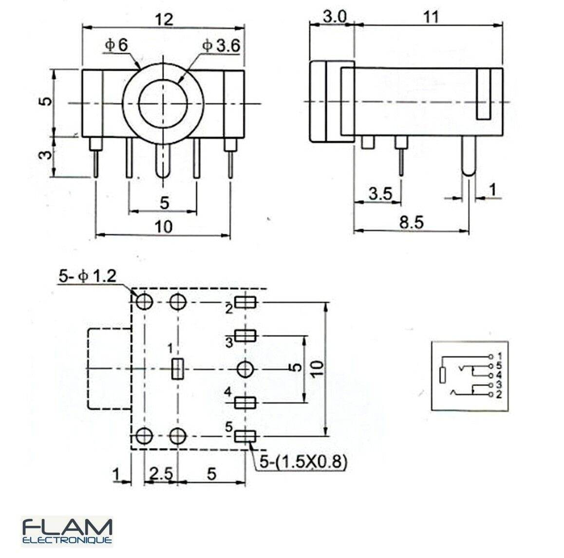 Connecteur à souder Jack 3,5mm audio stereo femelle/Female