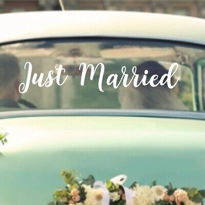 Just Married Vinyl (Just Married Wedding Sticker Decal   Removeable Car Vehicle Vinyl Bride WD2 )