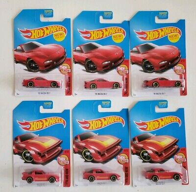 Hot Wheels 2017 KDay Kmart Exclusive Lot of 6 Red Mazda RX-7 & '95 Mazda RX-7