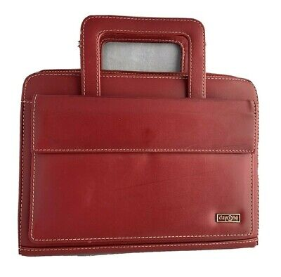 Franklin Covey Day Planner Red Faux Leather 7 Rings W Handles Weekmonth Inserts