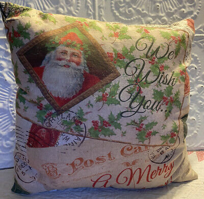 "NEW Christmas Pillow We Wish You A Merry Christmas 16x16"" Primitives By Kathy"