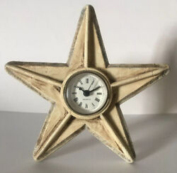 Shabby Chic Primitive Rustic Star Clock - Table Top or Hanging - Metal Beige NEW