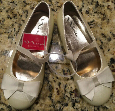 New Nina Girls' Shoes Size 10.5 M Cream Pearl Flats Bow Elastic Communion EUR 27 Girls Communion Shoes