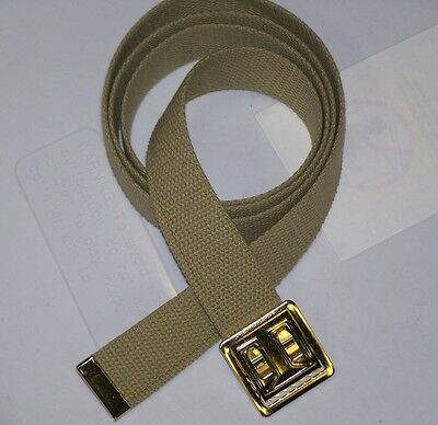 BELT NEW TAN CANVAS WEB MILITARY ARMY MARINE ALLOY BRASS FINISH BUCKLE M1 w P38