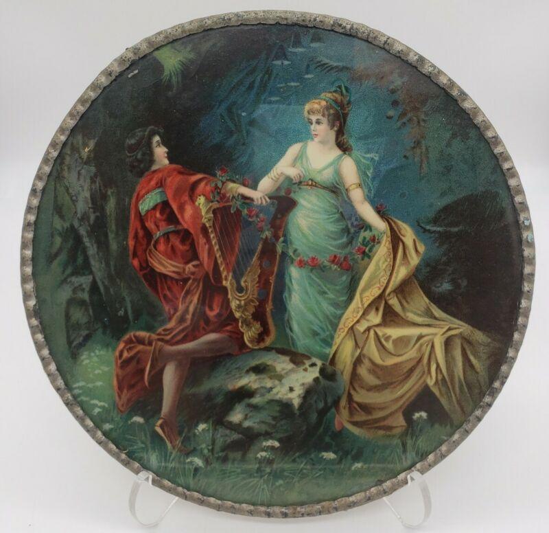 """RARE Antique Flue Cover Mythological Women With Harp 9.5"""""""