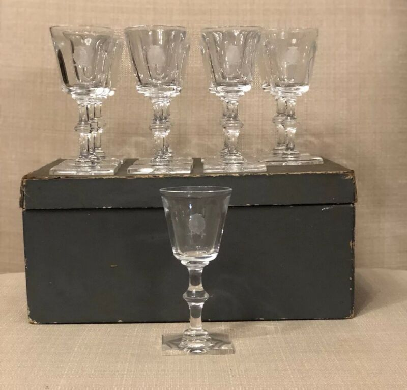 Custom Set Of 12 Steuben Etched Wine Glasses/stemware Ca 1930's Original Box