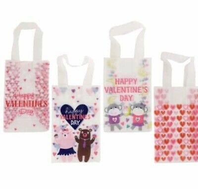 Valentines Goodie Bags. Frosted Clear Plastic. Handles.  (Clear Goodie Bags)