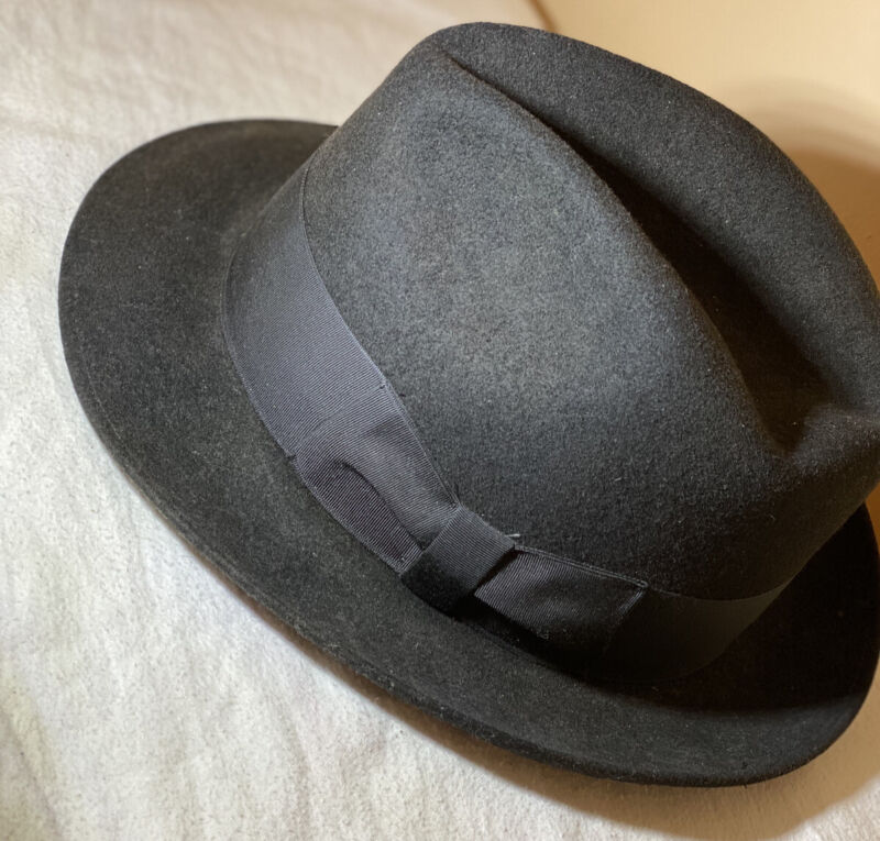 Vintage Mallory By Stetson Hat Size 7 1/8 Pure Wool Black Western Men's