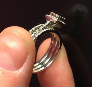 Elegant 3 piece Bridal Ring Set 0.50 CT 10k white gold