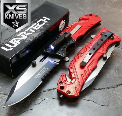 MULTI TOOL Red Spring Assisted LED Tactical Rescue Pocket Knife SURVIVAL