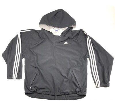 Adidas Windbreaker Mens L Light Jacket Black 3 Stripes With Hood Pullover Coat
