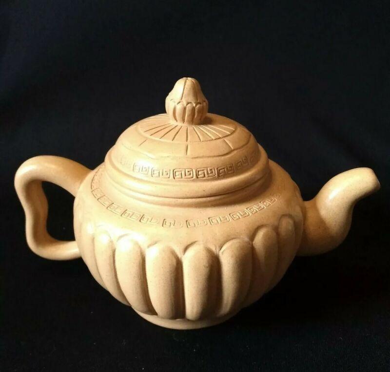 Chinese Yixing Zisha Teapot Handmade Yellow Clay from China Greek Key Design