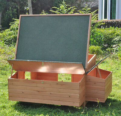 """59"""" Wooden Rabbit Hutch Poultry Cage Bunny Chicken Coop Guinea Pig Ferret Hen for sale  USA"""