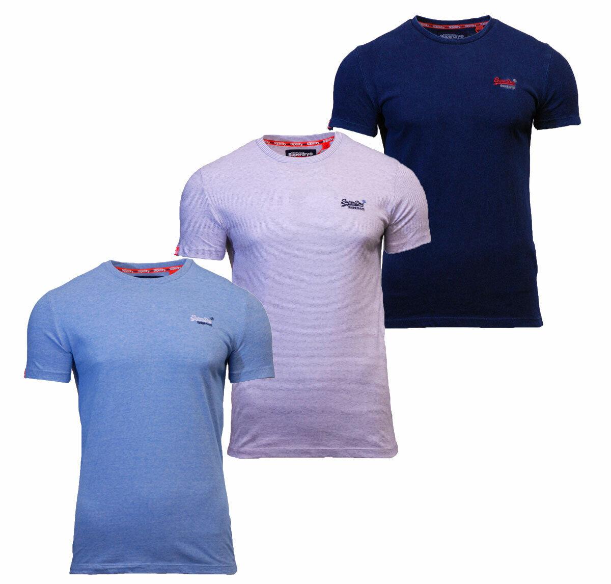 Superdry Mens Orange Label Crew Neck Short Sleeve T Shirt Indigo White Sky Blue