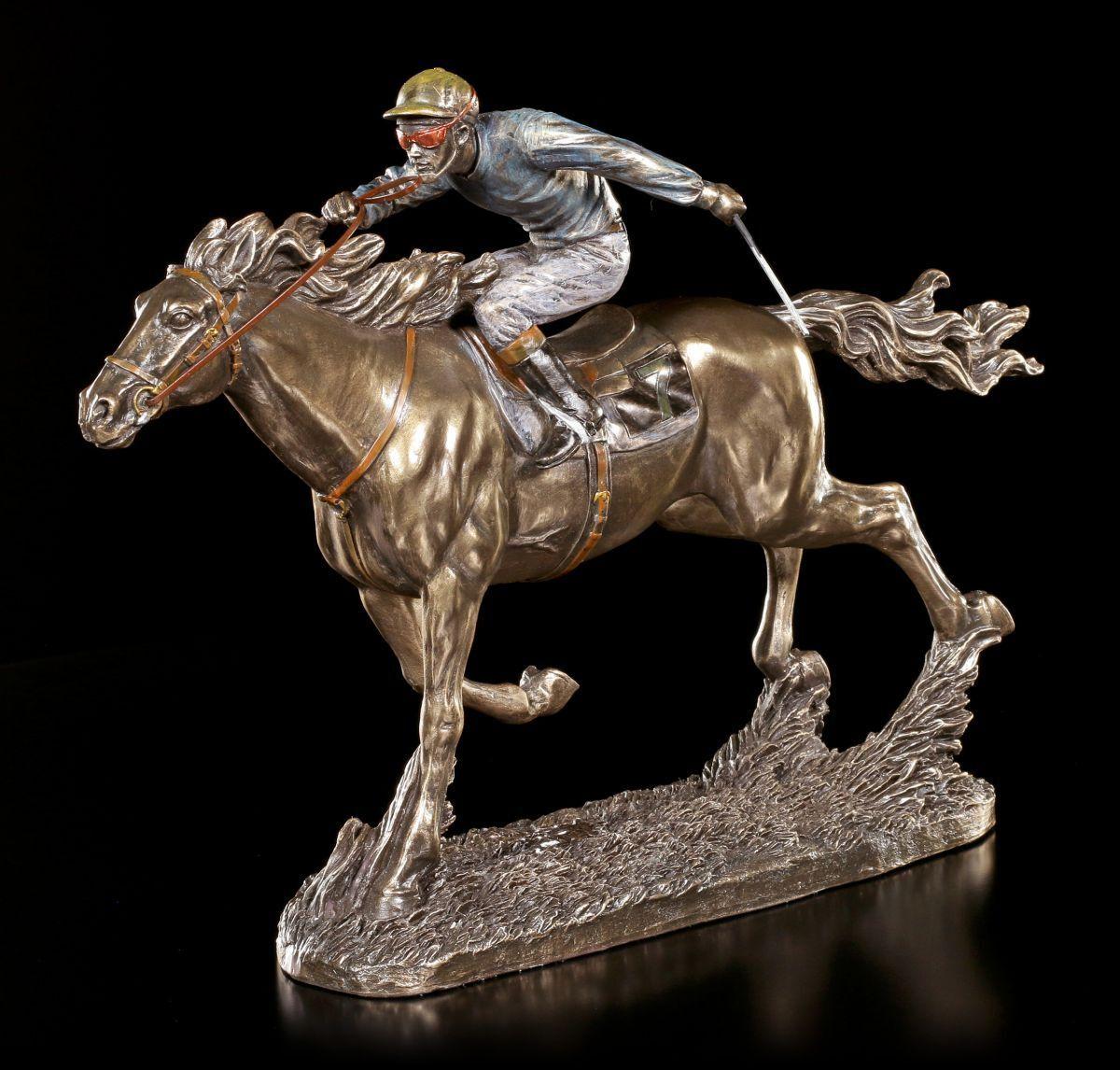 Jockey Figur - Reiter Nr. 7 - Veronese Deko Reitsport Pferd Rennen Bronze-Optik
