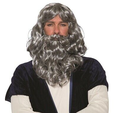 Biblisch Grau Perücke und Bart Set Erwachsene 10 - Erwachsenen Moses Perücke Und Bart