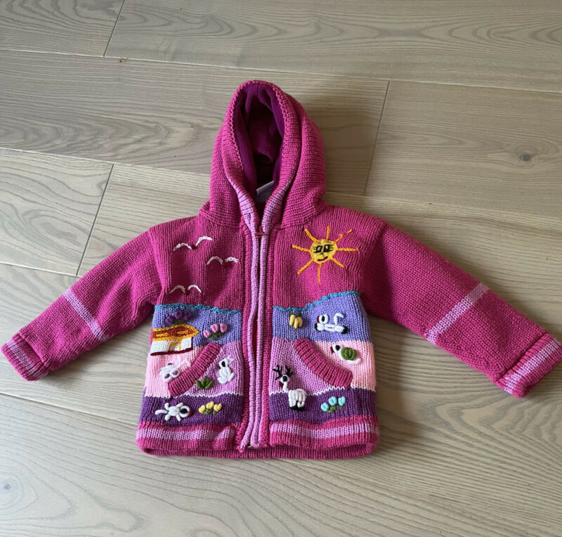 Peruvian Baby Girl Age 12-18 Months Patterned Knitted Cardigan Hood With Fleece