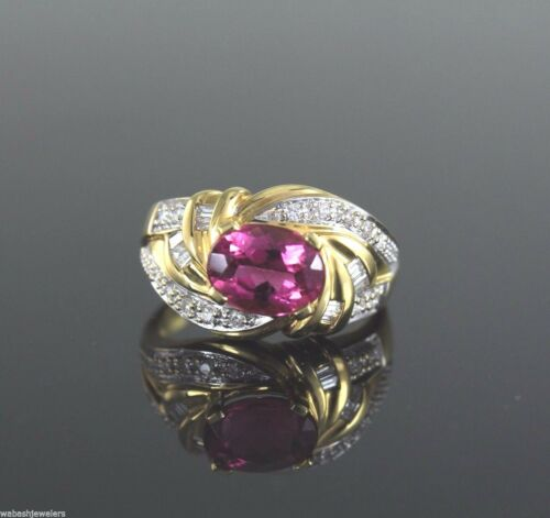 $2,975 18k Yellow Gold Pink Tourmaline Round Baguette Diamond Ring Band Size 8