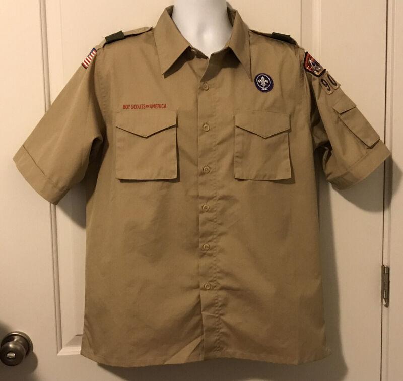 NWOT Boy Scout BSA Beige Short Sleeve Uniform Shirt - Size Adult Medium
