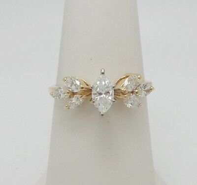 14k Gold Marquise Diamond Solitaire - 1CT Marquise Diamond Solitaire Engagement Wedding Bridal Ring 14K Yellow Gold