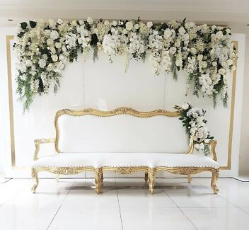 White and gold chaise for hire