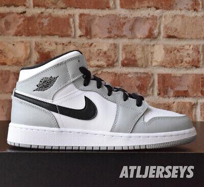 Nike Air Jordan 1 Mid GS Light Smoke Grey Black White 554725-092