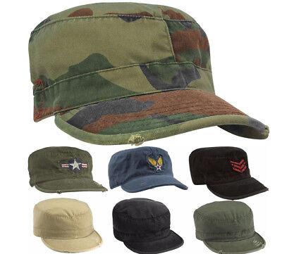Uniform Cap Hat (Vintage Military Fatigue Hat, Fitted - US Army Uniform Patrol Cap Washed )