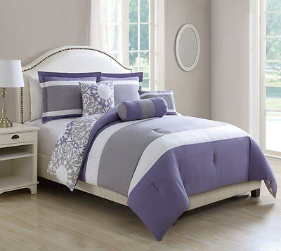 Luxury 10 Piece King Size Lavender/Gray Reversible Bed in a Bag W/500TC Cotton S Luxury 10 Piece Bed