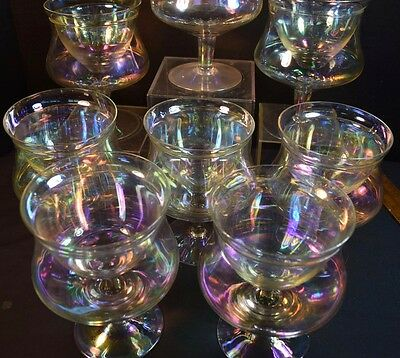Eight Pearl Iridescent Glass Shrimp Cocktail Glasses
