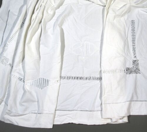 """VintageFrench Trousseau Sheet, Monogrammed""""B.M."""", Embroidered Lace Ladderwork"""