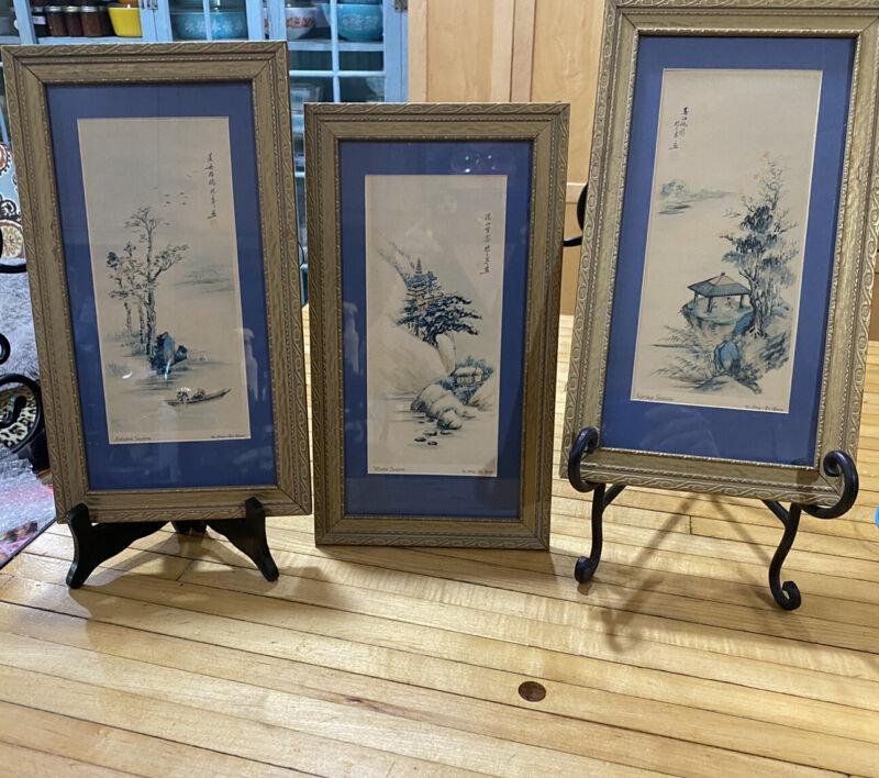 Vintage Chinese Art Prints Signed Ling-Fu Yang Four Seasons Framed Set of 3