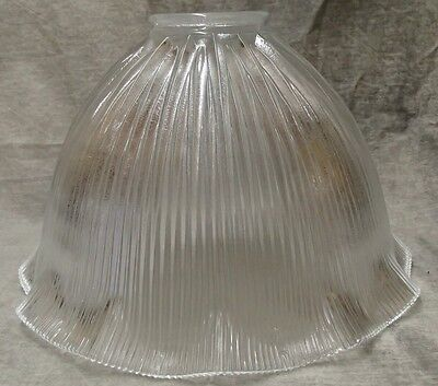 "HOLOPHANE STYLE LARGE GLASS SHADE LIGHTING FIXTURE PRISMATIC GLOBE 3 1/4"" X 11"