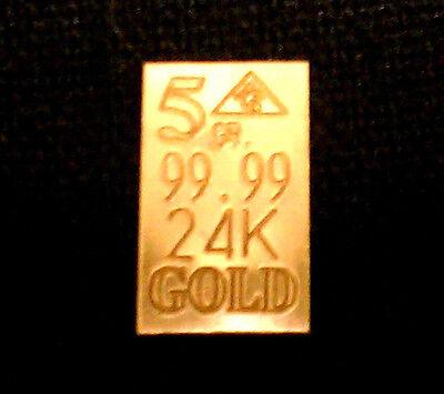 ACB Affordable 5GRAIN 24K SOLID GOLD BULLION MINTED BAR 99.99 FINE !